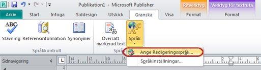 Språkknappen på menyfliken i Publisher