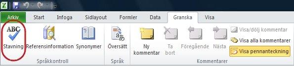 Stavningskontroll på menyfliken Start i Excel