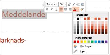 Ändra färg på text