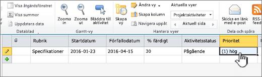Fyll i titel, datum och status för projektaktiviteten