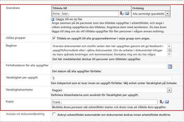 Andra sidan i associationsformuläret med fält för initieringsformuläret
