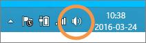 Fokus på Windows-högtalarikon som visas i aktivitetsfältet