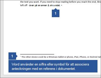 Word använder en siffra eller symbol för att associera anteckningen med en referens i dokumentet