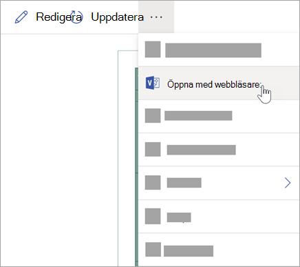 Välj ellipsen (...) för fler alternativ och välj sedan öppna på webben.
