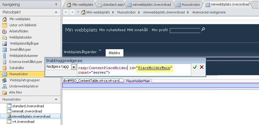 Kontrollen PlaceHolderMain ersätts av respektive innehållssida när huvudsidan för Min webbplats visas i en webbläsare.