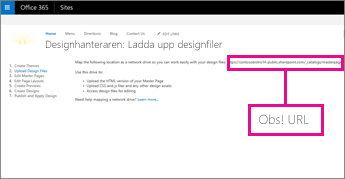 Kopiera eller notera webbadressen i Office 365 Design Manager
