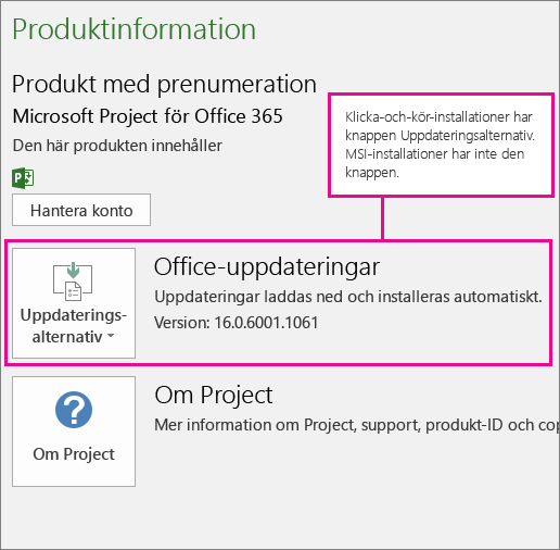 Klicka-och-kör-installationer har knappen Uppdateringsalternativ på Konto-sidan. MSI-baserade installationer har inte knappen.