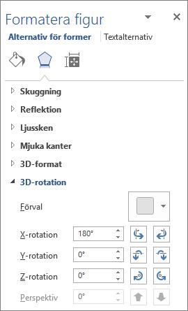 X-rotation på fliken Effekter