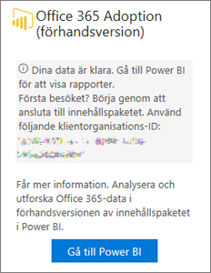 Välj Gå till Power BI på Office 365 Adoption-kortet