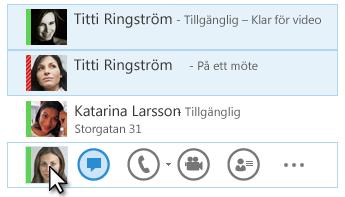 Skärmdump på kontakter och deras statusar och snabbmeddelandeikonen markerad