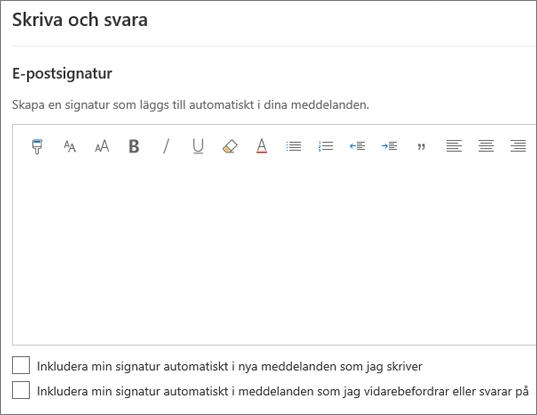 Skapa en e-postsignatur i Outlook på webben