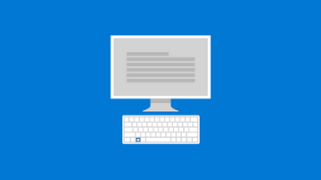 Bild på en dator skärm och ett tangent bord