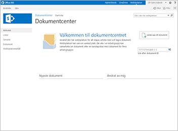 Webbplatsmallen för dokumentcenter