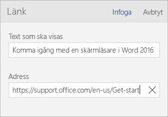 Skärmbild av dialogrutan Word Mobile-länk med fälten Text som ska visas och Adress.