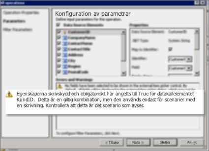Skärmdump 2 på dialogrutan Alla åtgärder i SharePoint Designer. Den här sidan visar varningar som förklarar inställningar för nyckelegenskaper i listan.