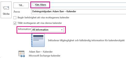 Inbjudan att dela e-postbrevlåda internt – Till inställningar för låda och information