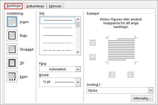 Dialogrutan Kantlinjer och fyllning i Word 2010