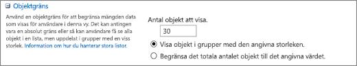 Ange antal objekt som ska visas på sidan Vyinställningar