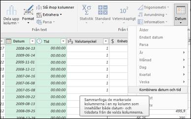 Power Query – Sammanfoga datum och klockslag i en kolumn för datum/tid från frågeredigeraren