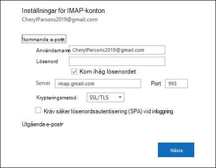 Välj Server inställningar för att ändra ditt användar namn, lösen ord och Server inställningar.
