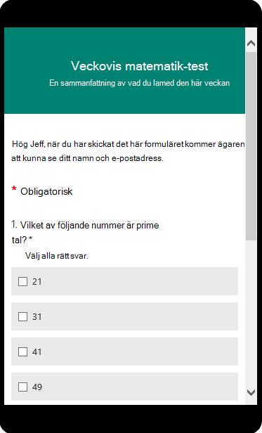 Matematiktest visas i mobilens förhandsgranskningsläge