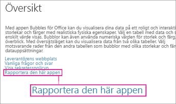 Länk för att rapportera app i Office Store