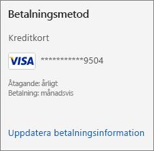 Avsnittet Betalningsmetod på sidan Prenumeration, med länken Uppdatera betalningsinformation.