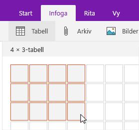 Kommandot Infoga tabell visar markering