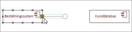 Angivet gränssnitt-form fäst vid komponentform