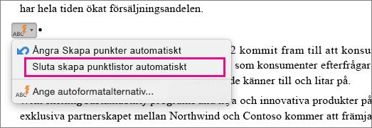 Alternativet för att sluta skapa punktlistor automatiskt är markerat.