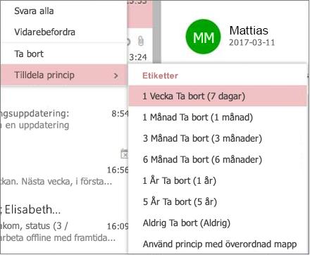 Skärmbild av exemplet bevarandeprinciper i grupper i Outlook på webben