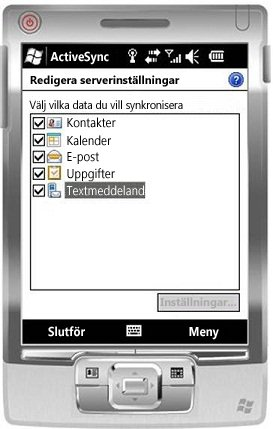 Markera kryssrutan SMS i Windows Mobile 6.5