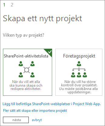 Skapa ett nytt projekt