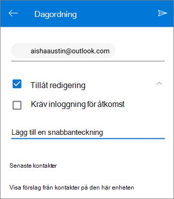Skärm bild av att bjuda in personer att dela en fil från OneDrive för Android
