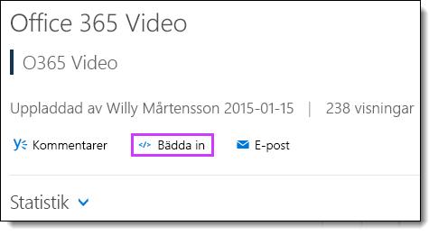 Inbäddningskoden i Office 365 Video