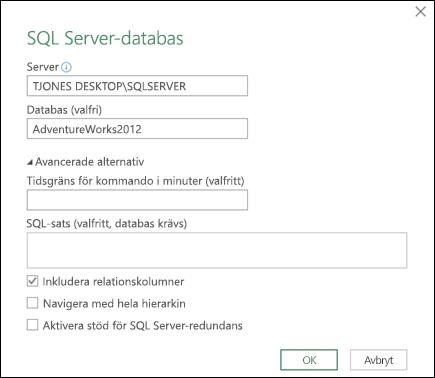 Power Query, anslutningsdialogruta för SQL Server-databas