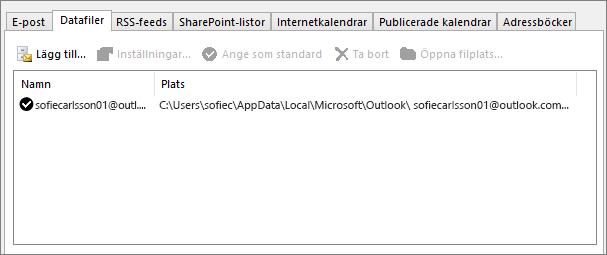 Fliken Datafiler för Outlook-kontoinställningar som visar platsen för Outlook-datafiler för en namngiven användare