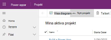 Knappen Nytt projekt i Project Power App