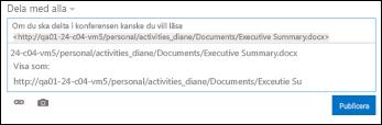 Dokument-URL som klistrats in i ett inlägg i en nyhetsfeed