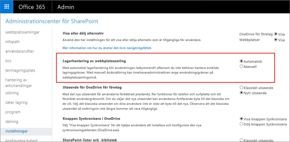 Fönstret Inställningar i Office 365 SharePoint med webbplatssamlingshantering markerad