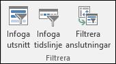 Alternativet Infoga utsnitt från Verktyg för pivottabell > Analysera > Filter