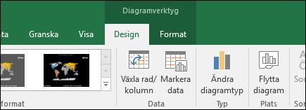 Verktyg i menyfliksområdet för kartdiagram i Excel