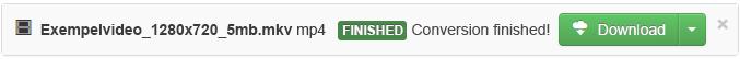 När konverteringsprocessen är slutförd visas en grön nedladdningsknapp som gör att du kan kopiera den konverterade mediefilen till din dator