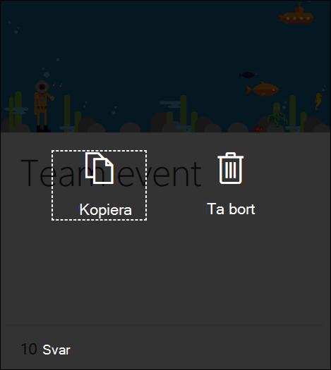 Ett klick på knappen Ta bort i ett befintligt formulär