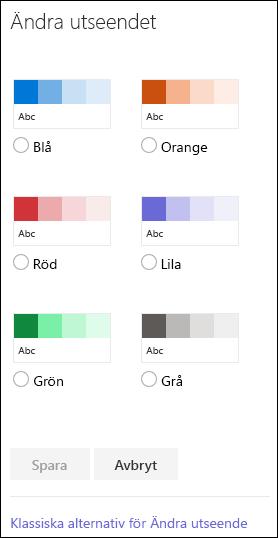 Skärmbild som visar färgalternativen i SharePoint för att ändra webbplatsens utseende.