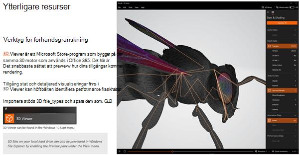 Skärm bild från avsnittet ytterligare resurser i rikt linjer för 3D-innehåll