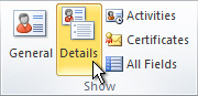 Gruppen Visa i menyfliksområdet för en Outlook-kontakt
