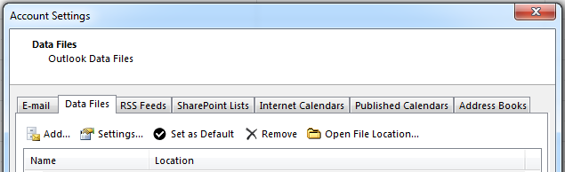 Fliken Datafiler visar alla dina konton.