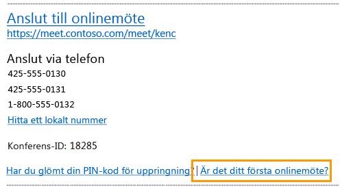 E-postmeddelande om att ansluta till ett onlinemöte