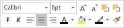 Flytande kontroll eller formateringsverktygsfält för textredigering